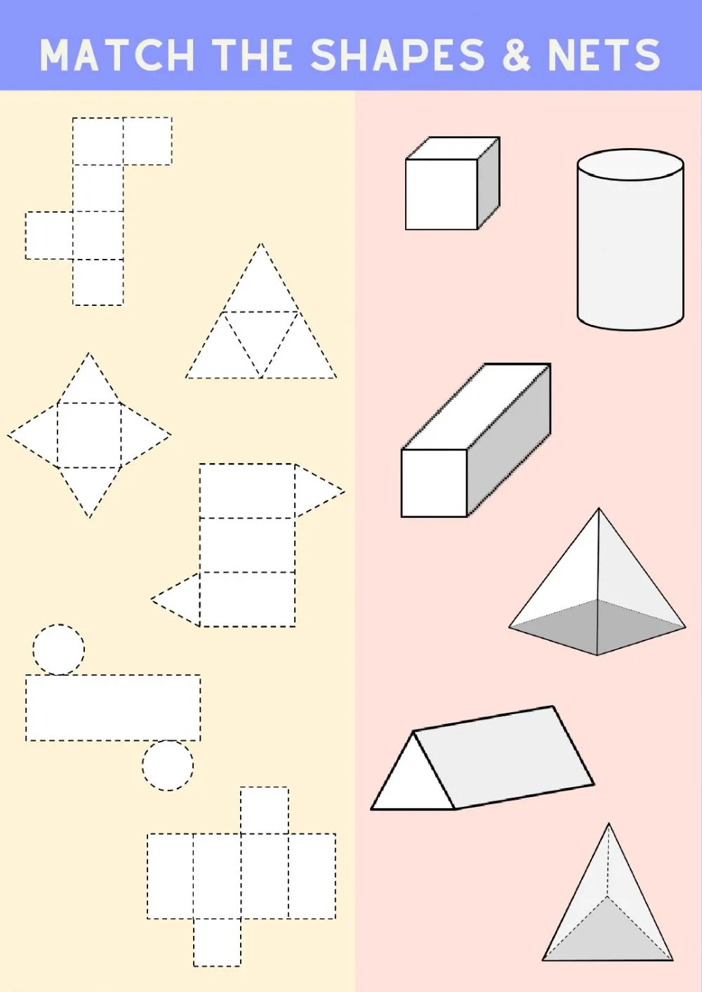 hight resolution of Matching 3D shapes and their nets worksheet