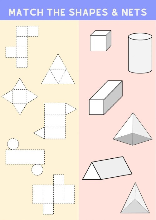 small resolution of Matching 3D shapes and their nets worksheet
