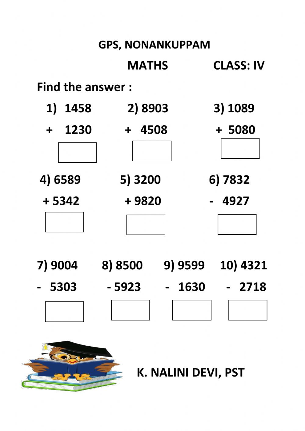 hight resolution of 4 digit addition and subtraction worksheet