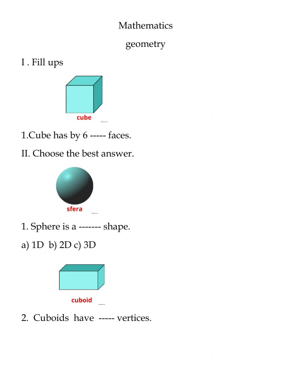 hight resolution of Geometry interactive worksheet for grade 5