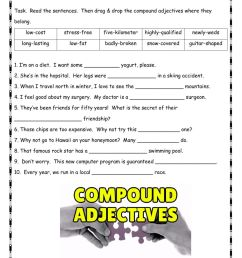 Compound Adjectives worksheet for B1 [ 1291 x 1000 Pixel ]
