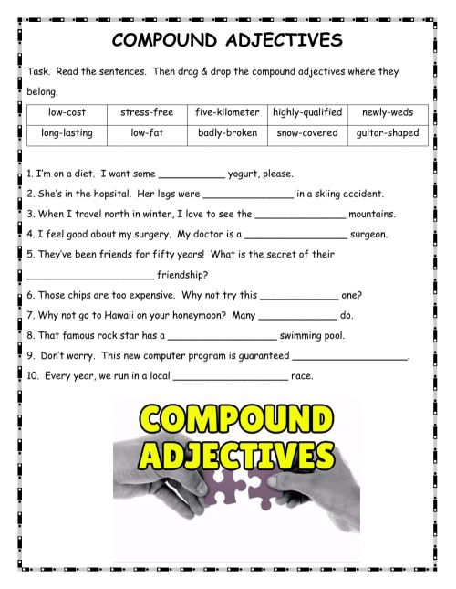 small resolution of Compound Adjectives worksheet for B1
