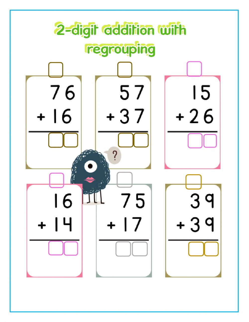 hight resolution of 2-digit addition with regrouping worksheet