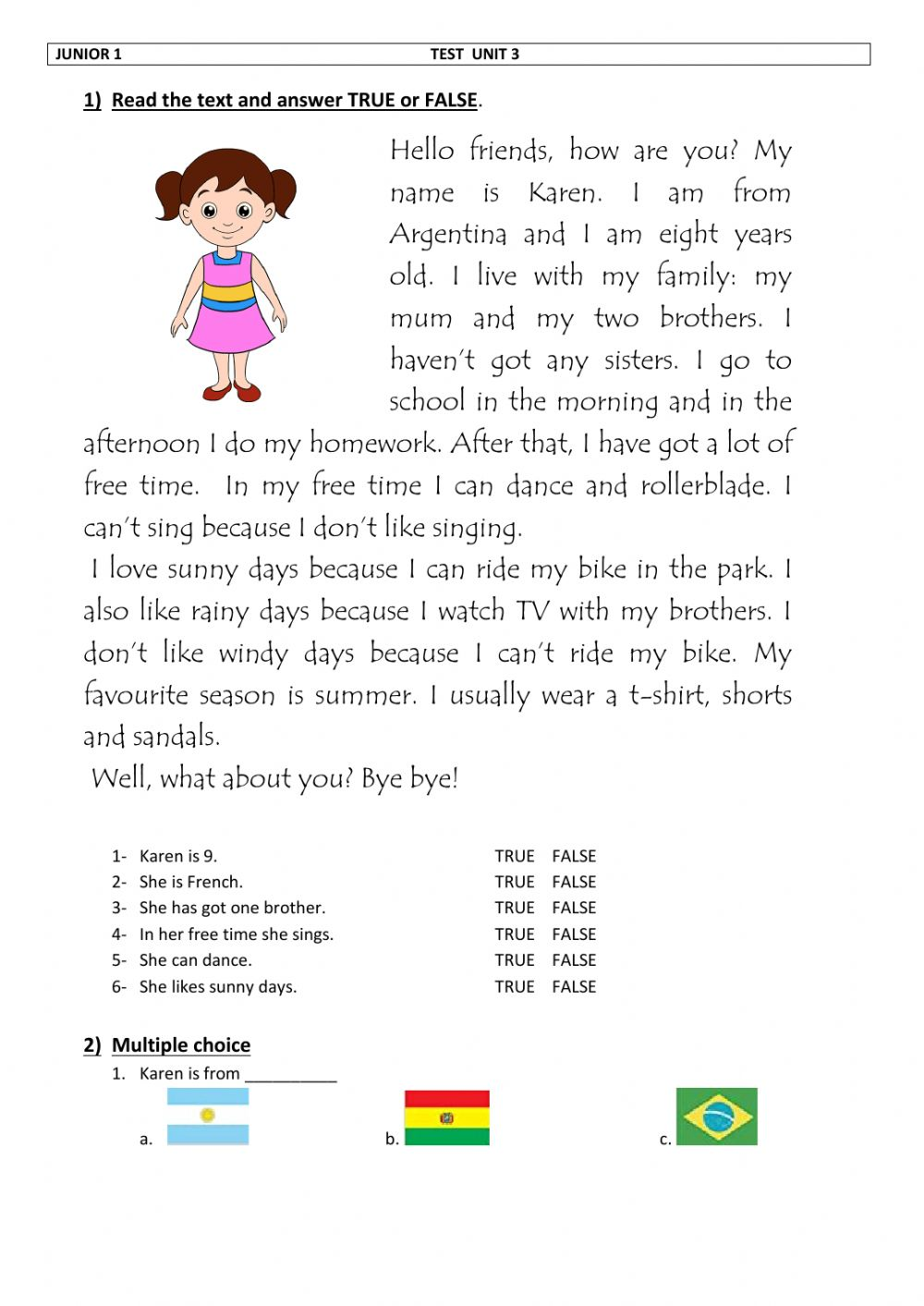 hight resolution of Free time worksheet for Grade 1