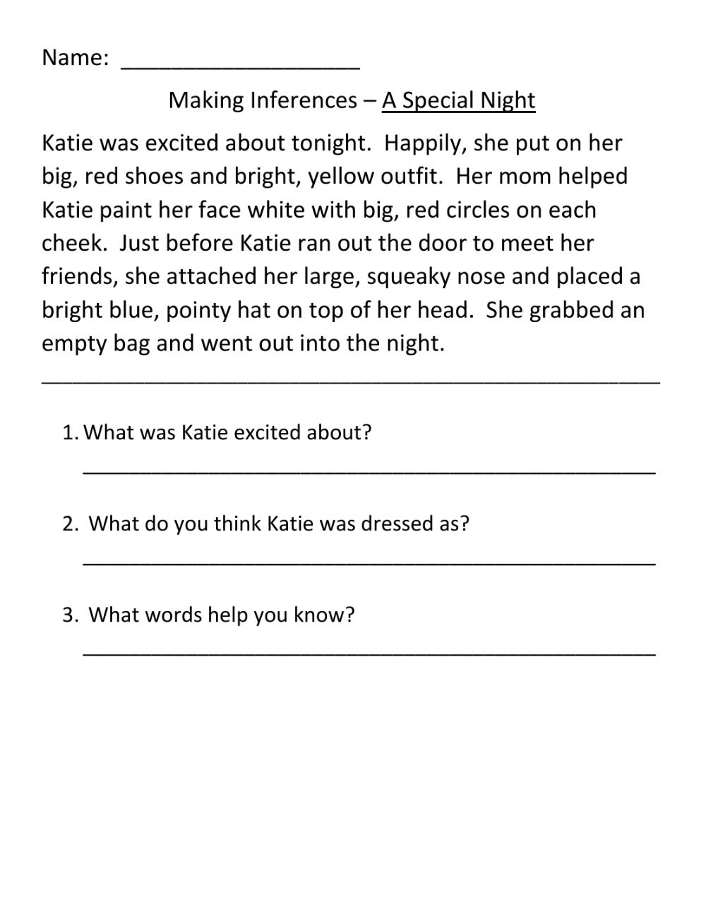 hight resolution of Making inferences activity
