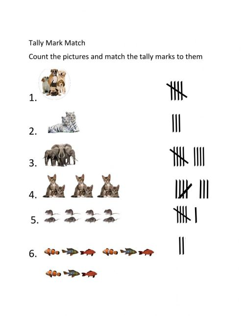 small resolution of Tally mark matching worksheet
