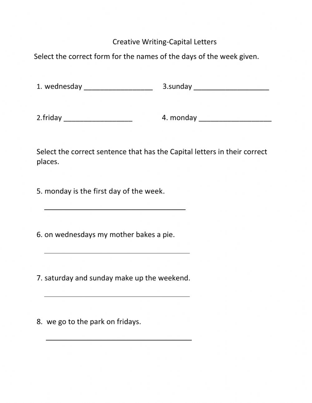 hight resolution of Capitalization-Days of the week worksheet