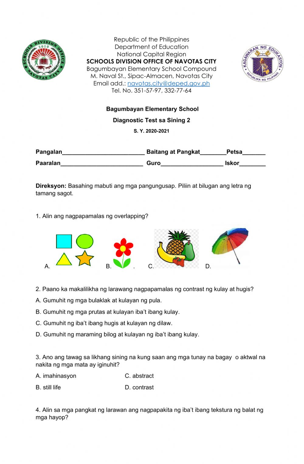 hight resolution of Diagnostic Test in Arts 2 interactive worksheet