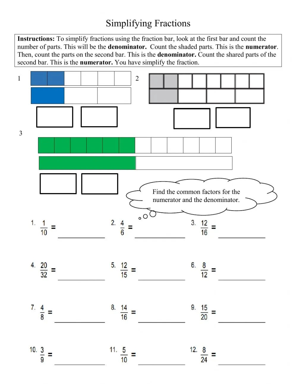 hight resolution of Simplifying Fractions Grade 4 worksheet