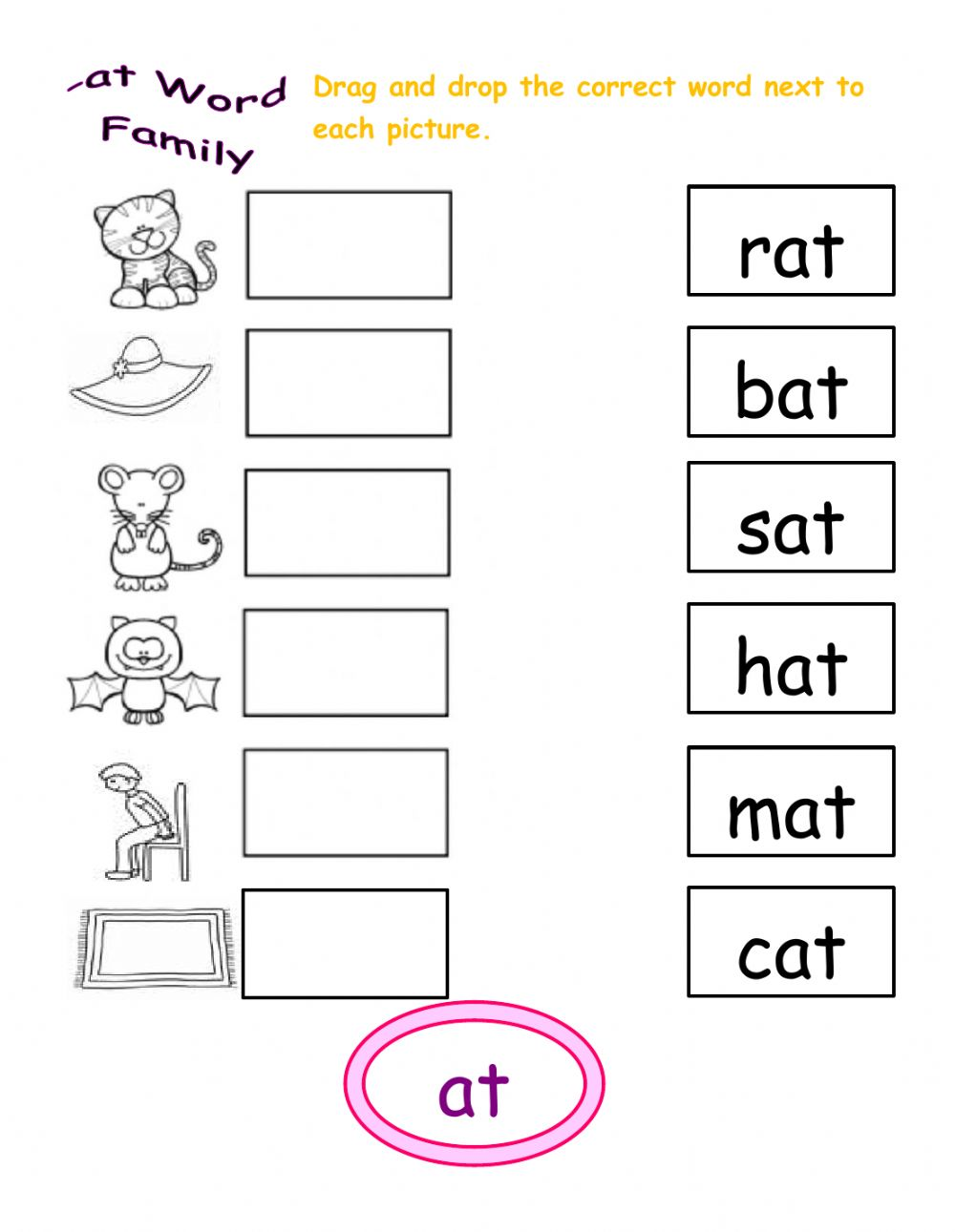 hight resolution of At word family interactive worksheet