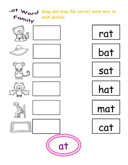 small resolution of At word family interactive worksheet