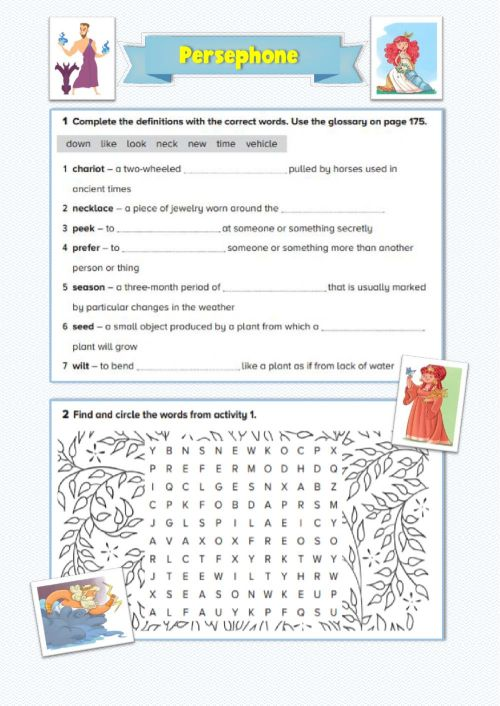 small resolution of Persephone: Vocabulary and Reading Comprehension worksheet