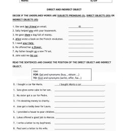 Direct and Indirect object worksheet [ 1393 x 1000 Pixel ]