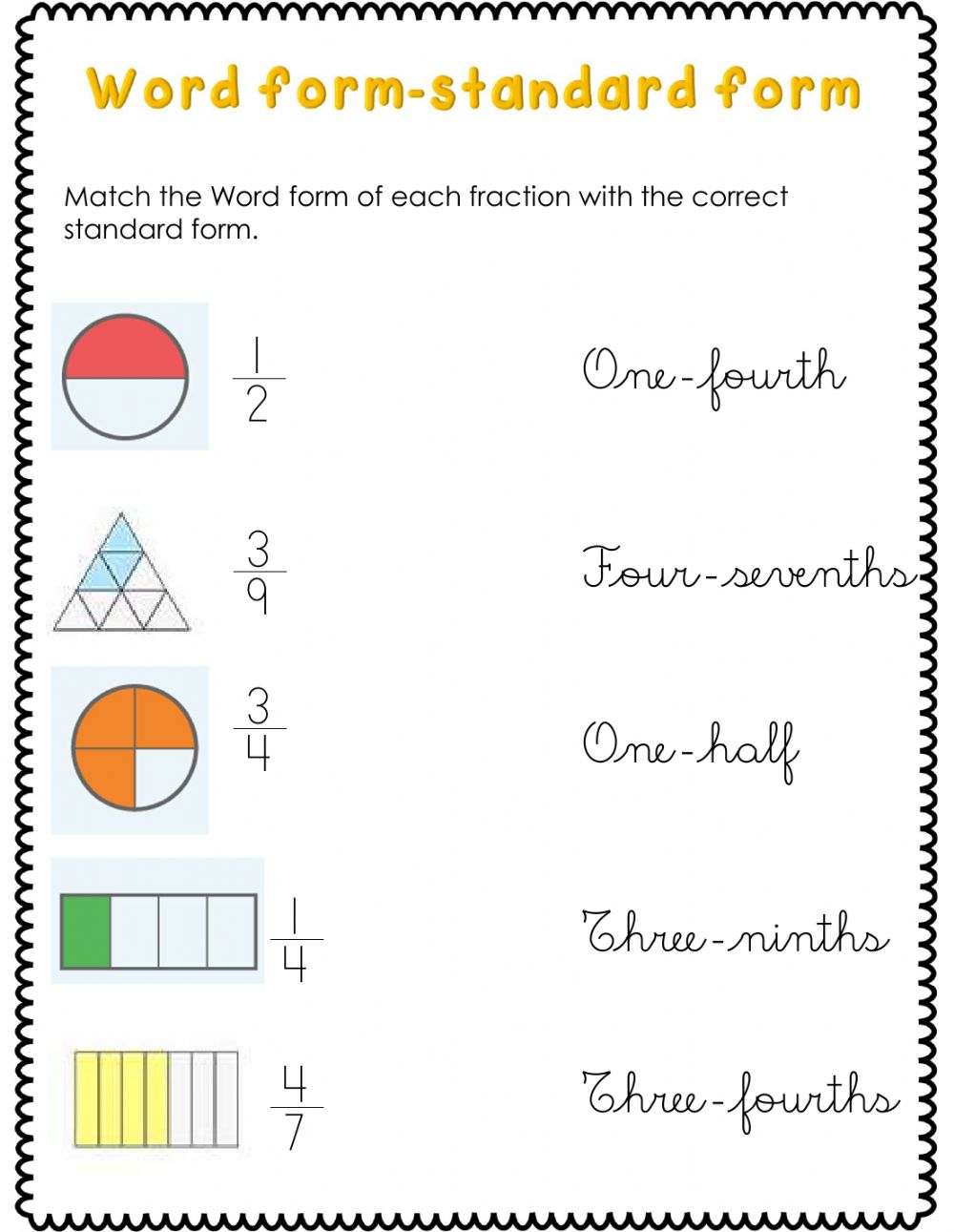 hight resolution of Fractions activity for Second grade