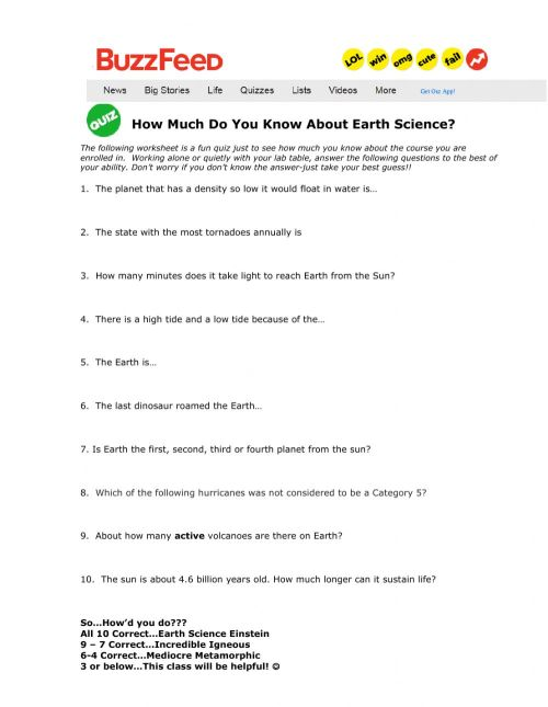 small resolution of How much do you know about Earth Science worksheet