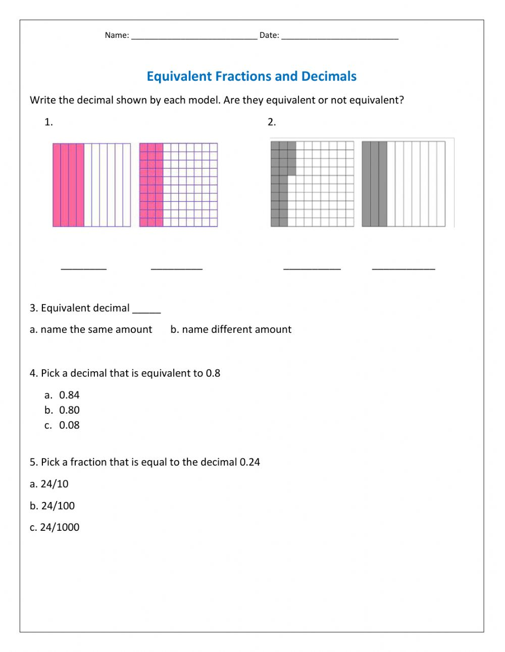 medium resolution of Equivalent Decimals worksheet