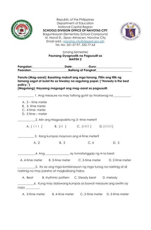 small resolution of Diagnostic Test in Music 2 interactive worksheet