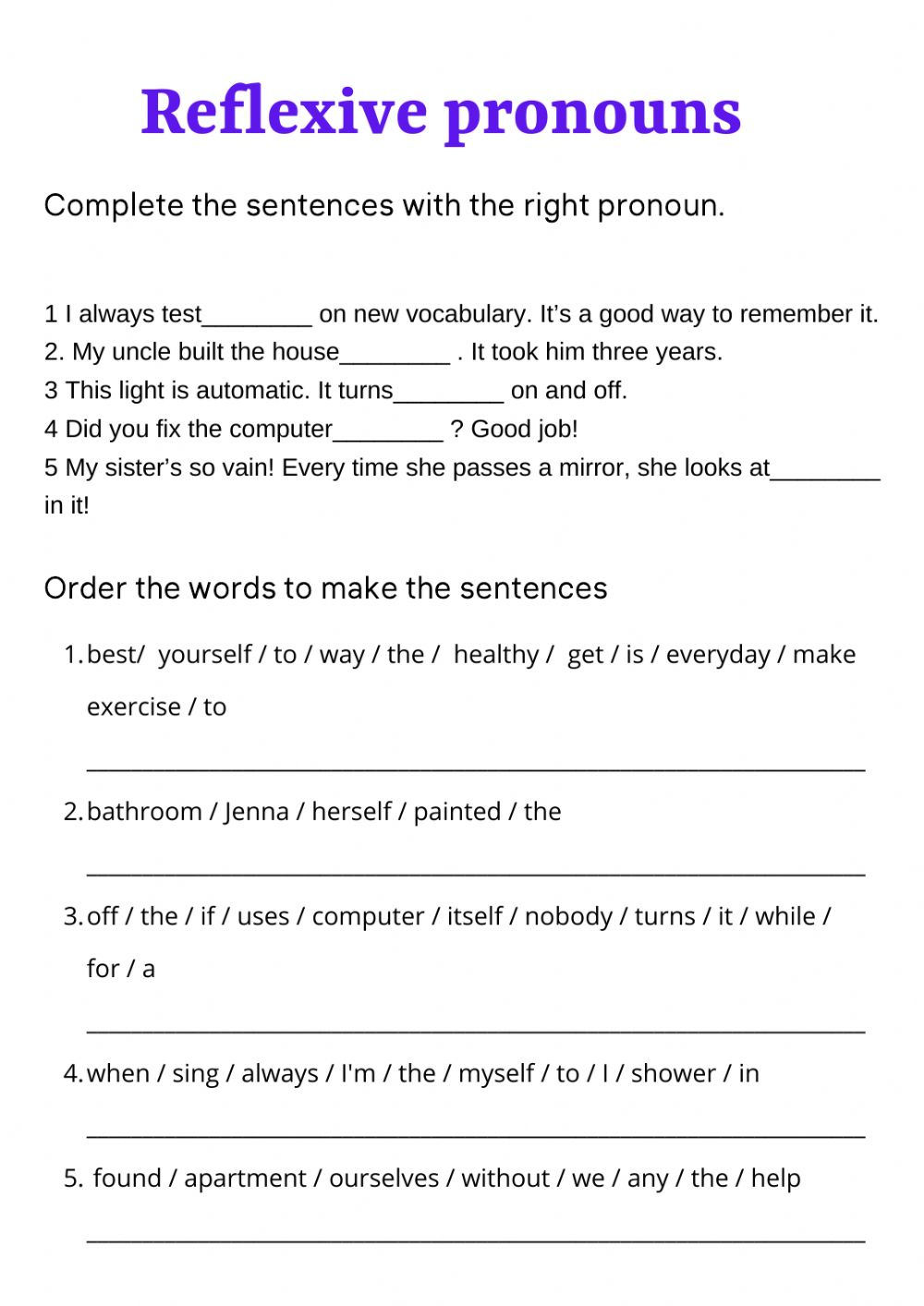 medium resolution of Reflexive pronouns zsciencez activity