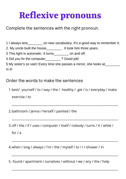 small resolution of Reflexive pronouns zsciencez activity