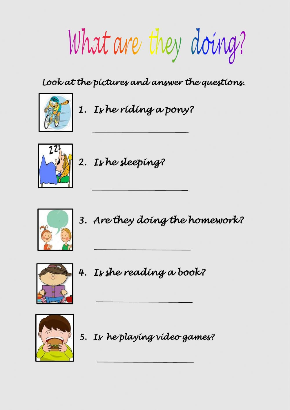 hight resolution of What are they doing? exercise for Grade 2