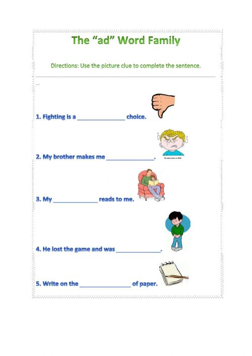 small resolution of Ad word family worksheet