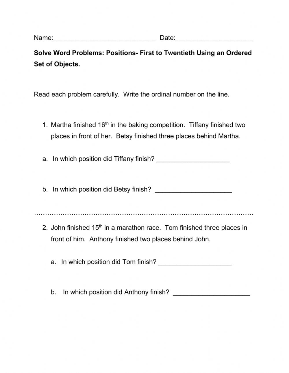 hight resolution of Ordinal Numbers Word Problems worksheet