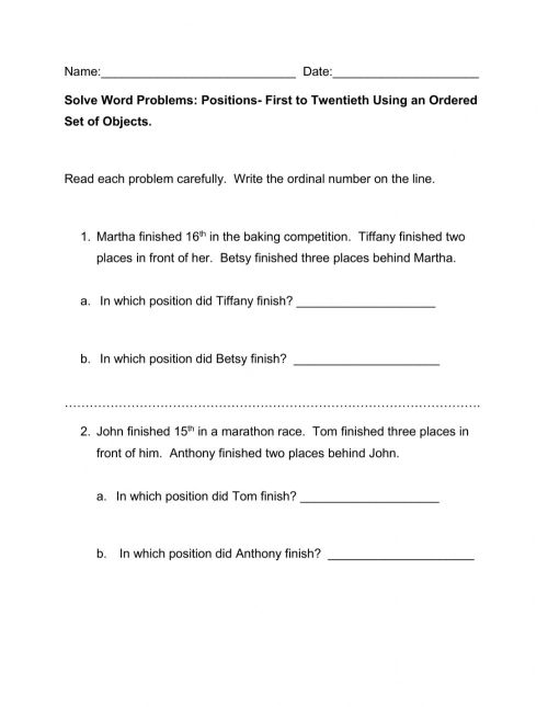 small resolution of Ordinal Numbers Word Problems worksheet
