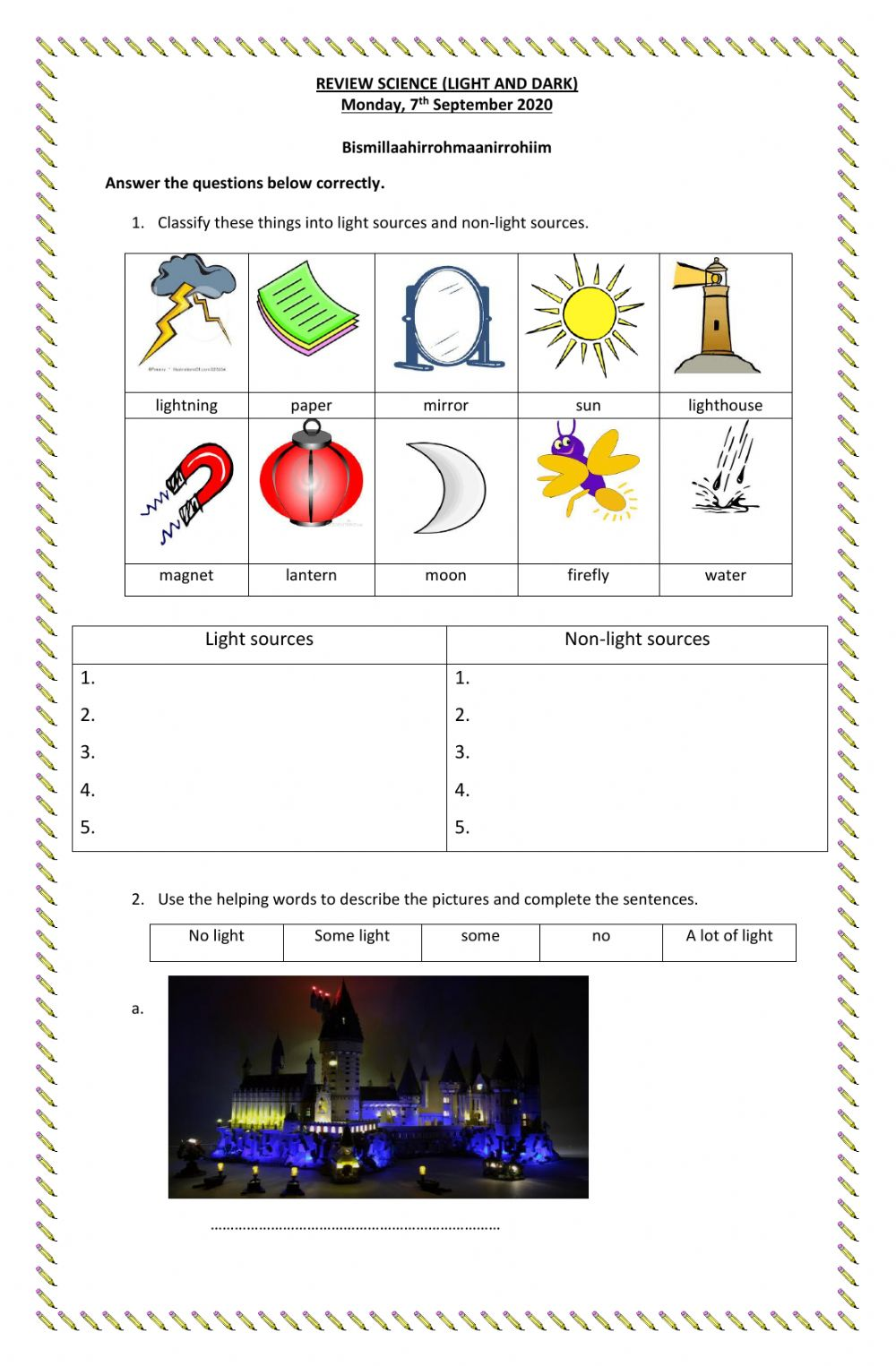 hight resolution of Light and dark interactive worksheet