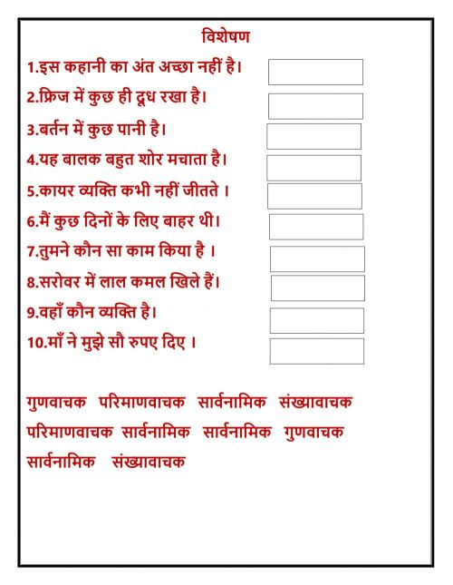 small resolution of विशेषण exercise