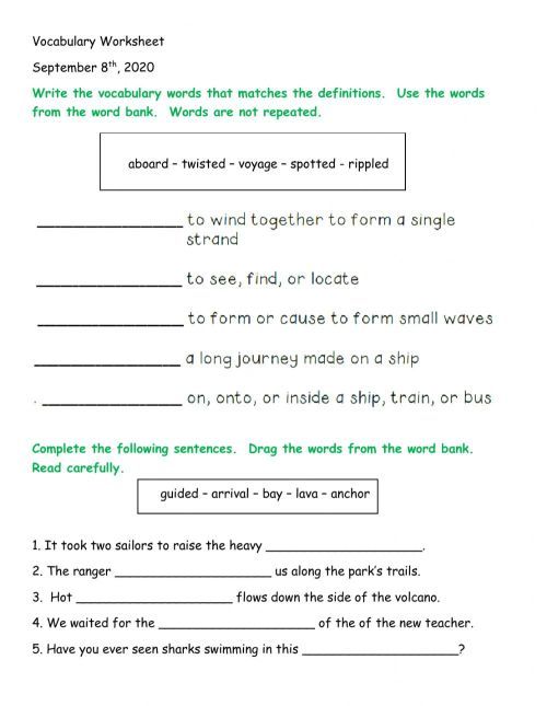 small resolution of Lesson 24 Vocabulary Worksheet worksheet