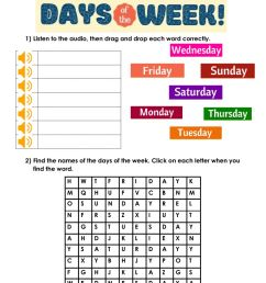 Days of the week online exercise for 4th grade [ 1291 x 1000 Pixel ]