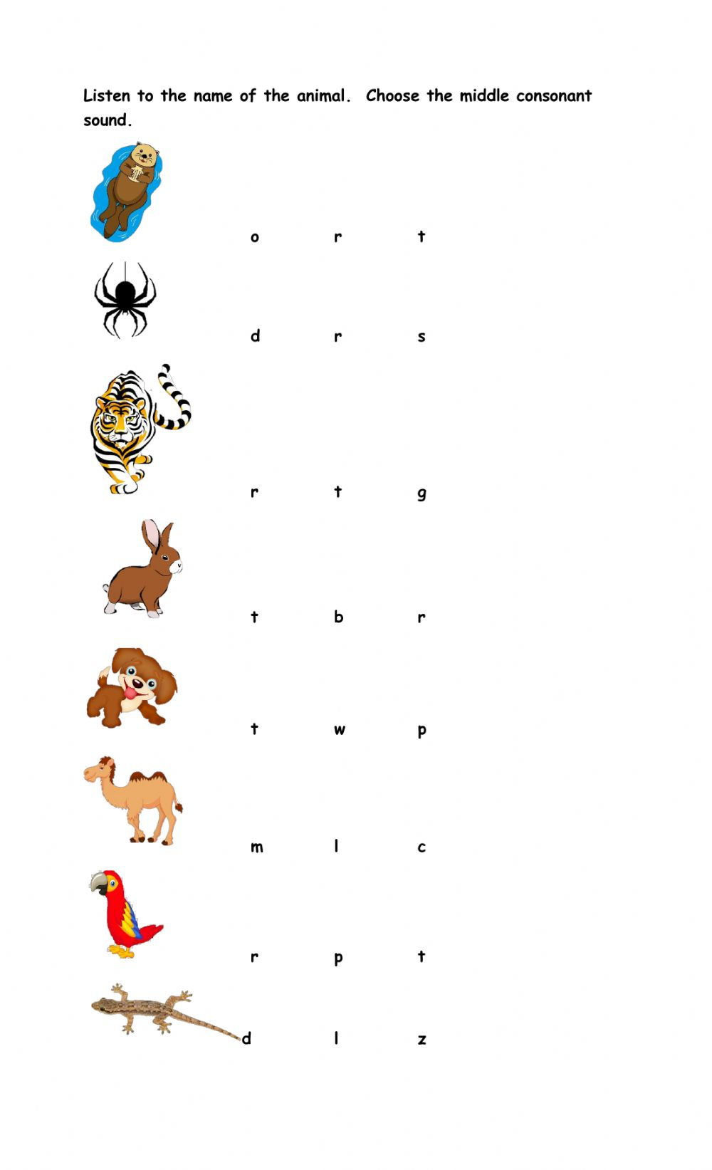 hight resolution of Middle Consonant Sounds worksheet