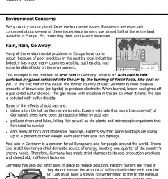 Europe Environmental Issues worksheet [ 1291 x 1000 Pixel ]