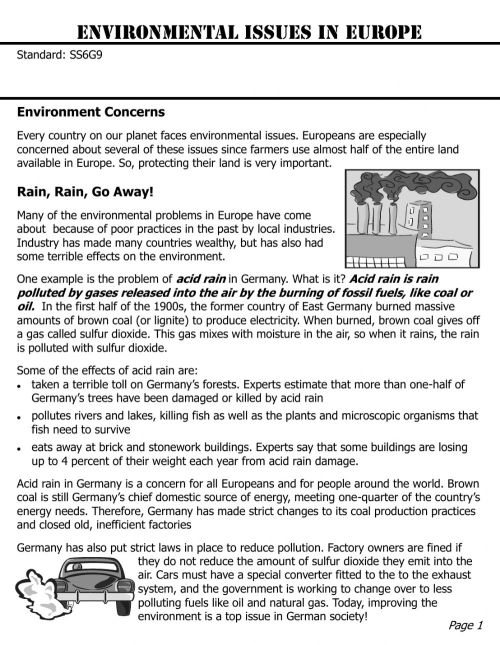 small resolution of Europe Environmental Issues worksheet
