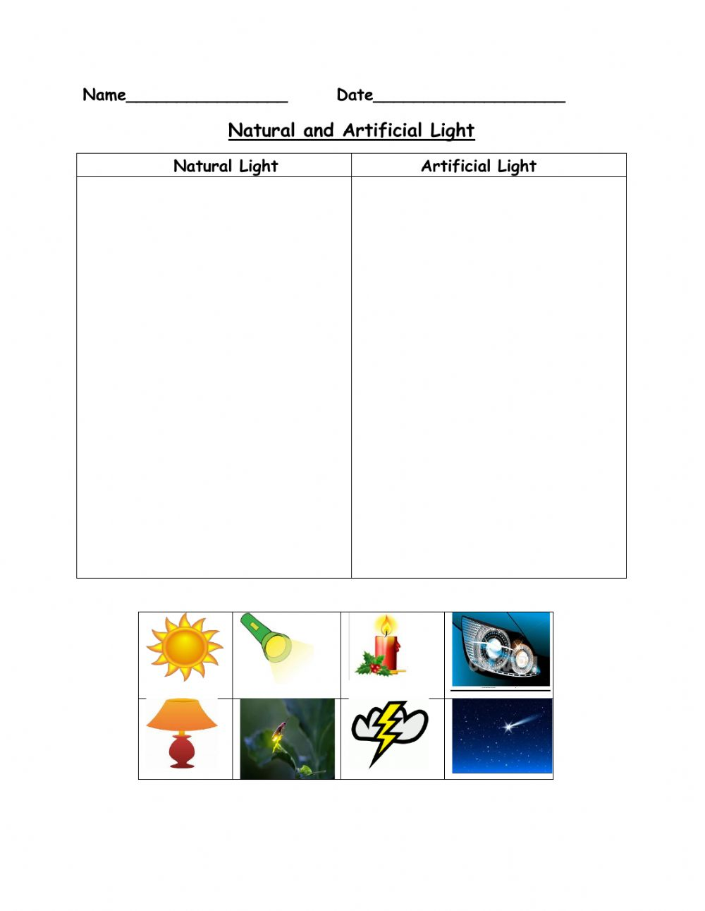 medium resolution of Natural and Artificial Light activity