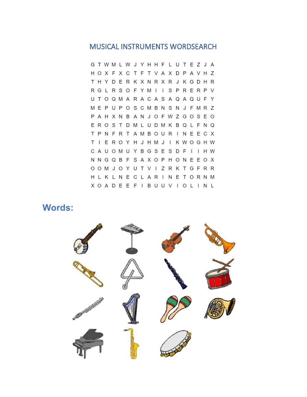 hight resolution of Musical instruments wordsearch worksheet