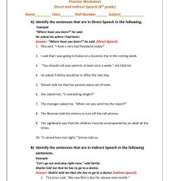 Direct and Indirect Speech worksheet [ 1413 x 1000 Pixel ]