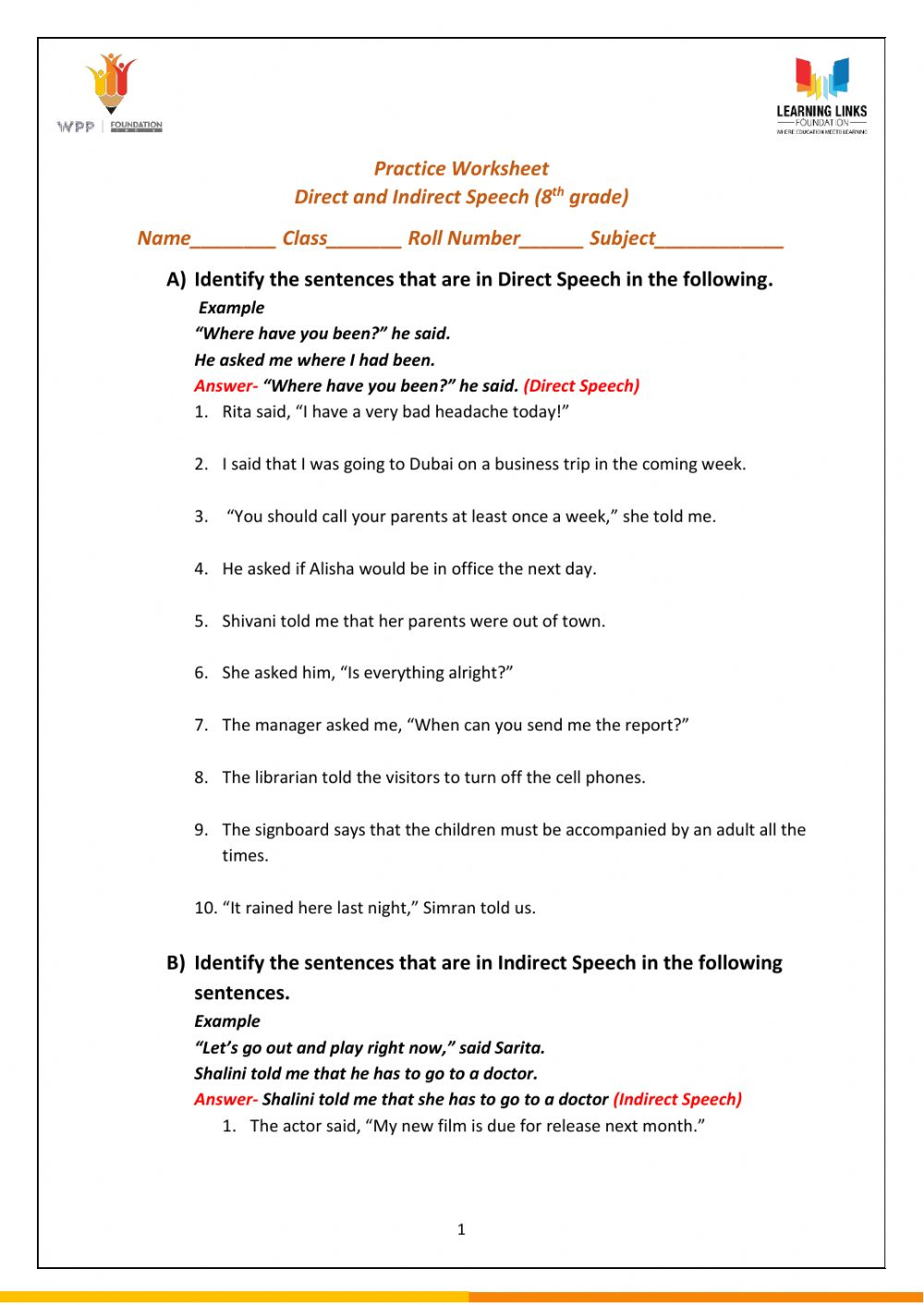 hight resolution of Direct and Indirect Speech worksheet