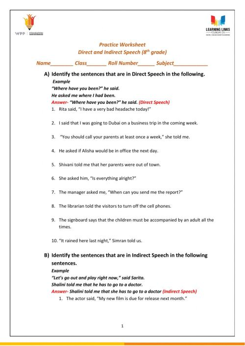 small resolution of Direct and Indirect Speech worksheet
