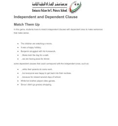 Independent and dependent clauses worksheet [ 1291 x 1000 Pixel ]