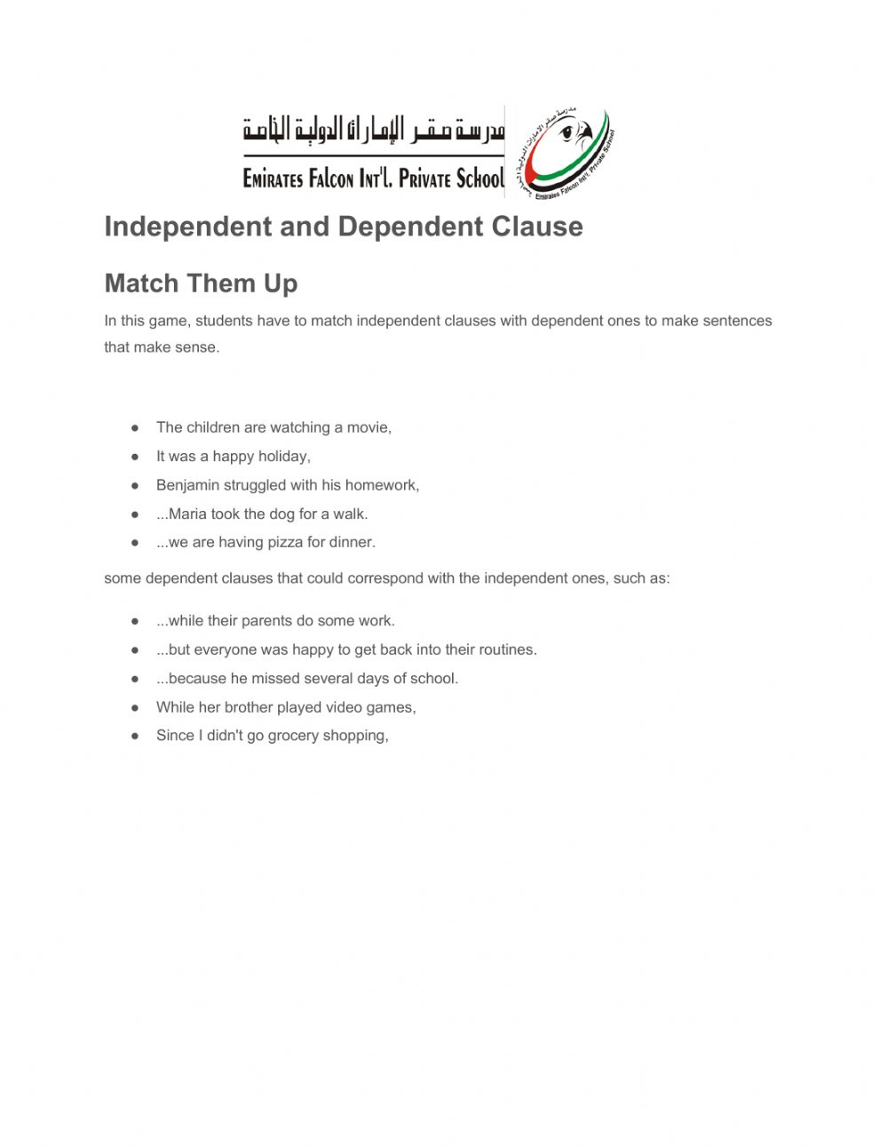 hight resolution of Independent and dependent clauses worksheet