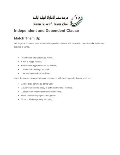 small resolution of Independent and dependent clauses worksheet