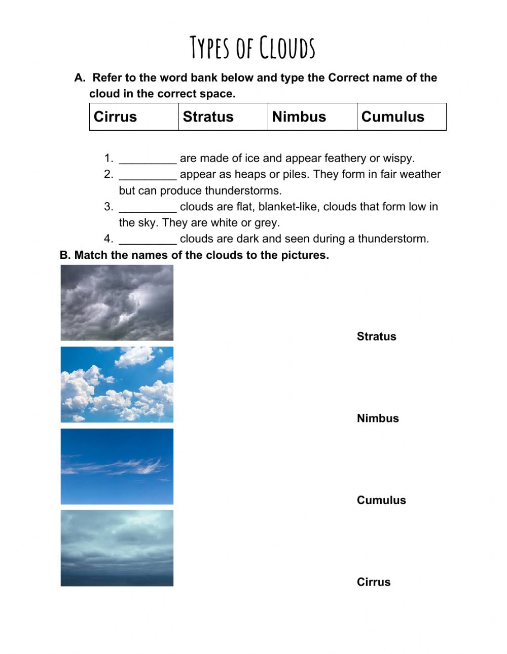 hight resolution of Types of Clouds worksheet