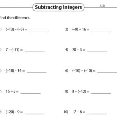 subtracting integers worksheet [ 966 x 1000 Pixel ]