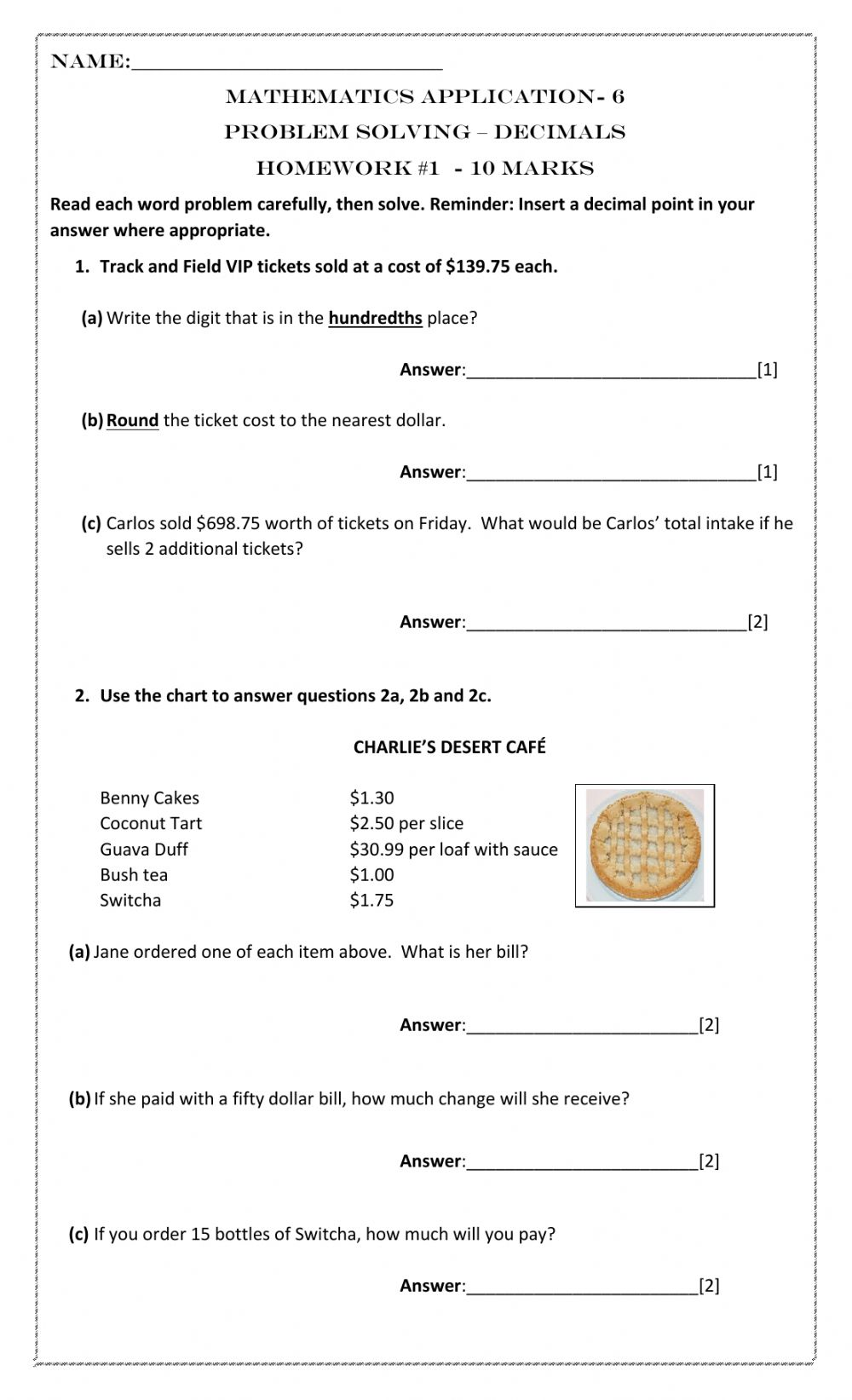medium resolution of Decimals Word Problems worksheet