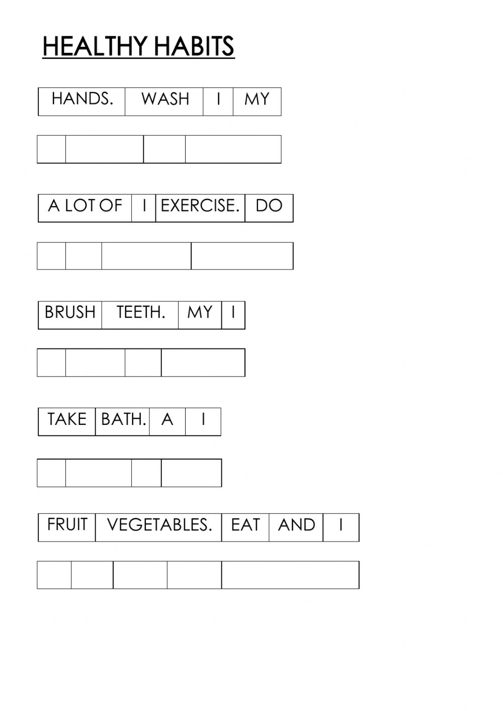 hight resolution of Healthy habits interactive worksheet for SECOND GRADE