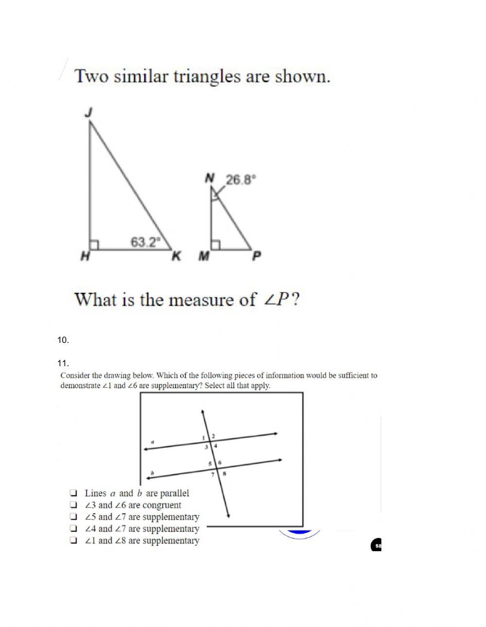 hight resolution of Angles and Triangles Review worksheet