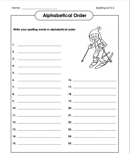 small resolution of Alphabetical Order Whole List E-3 6th Grade worksheet