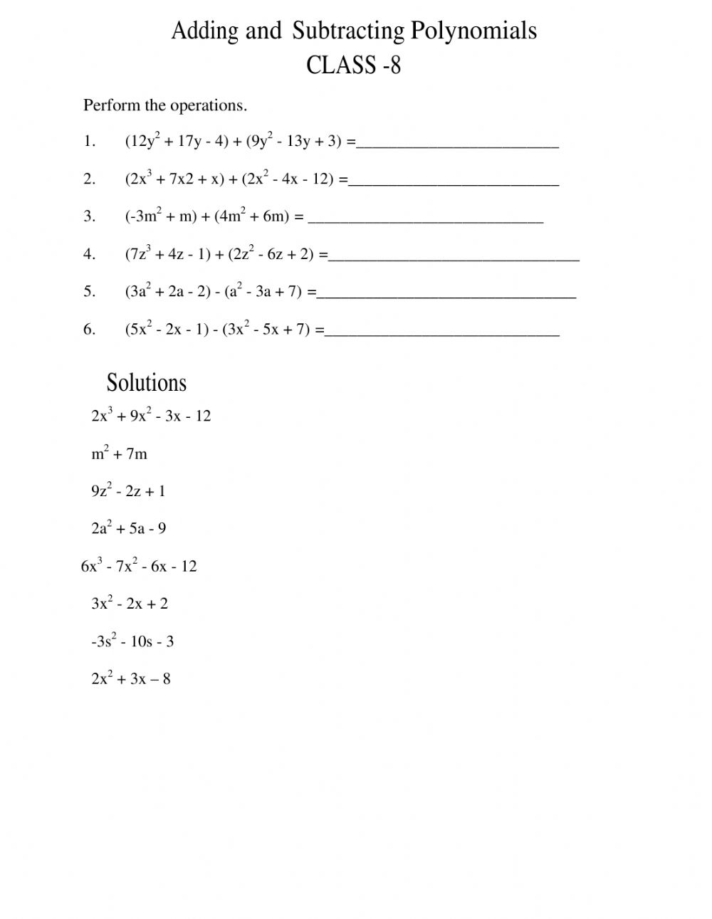 hight resolution of Addition and subtraction of polynomials interactive worksheet