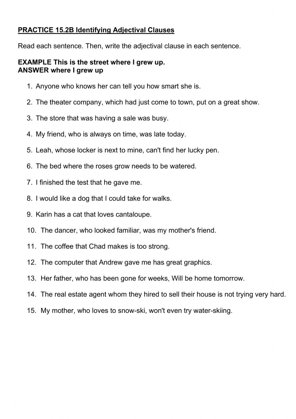 medium resolution of PRACTICE 15.2B Identifying Adjectival Clauses worksheet